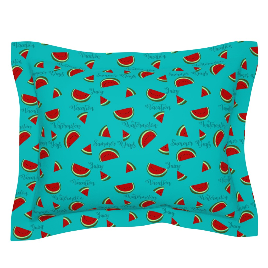 Sebright Pillow Sham featuring Summer Watermelon Slices  by gypsea_art_designs