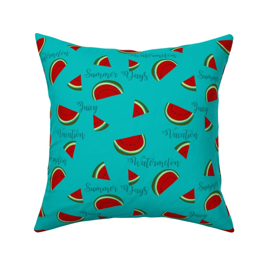 Catalan Throw Pillow featuring Summer Watermelon Slices  by gypsea_art_designs