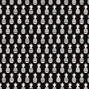 Fun black and white ananas geometric pineapple fruit summer beach theme illustration pattern SMALL