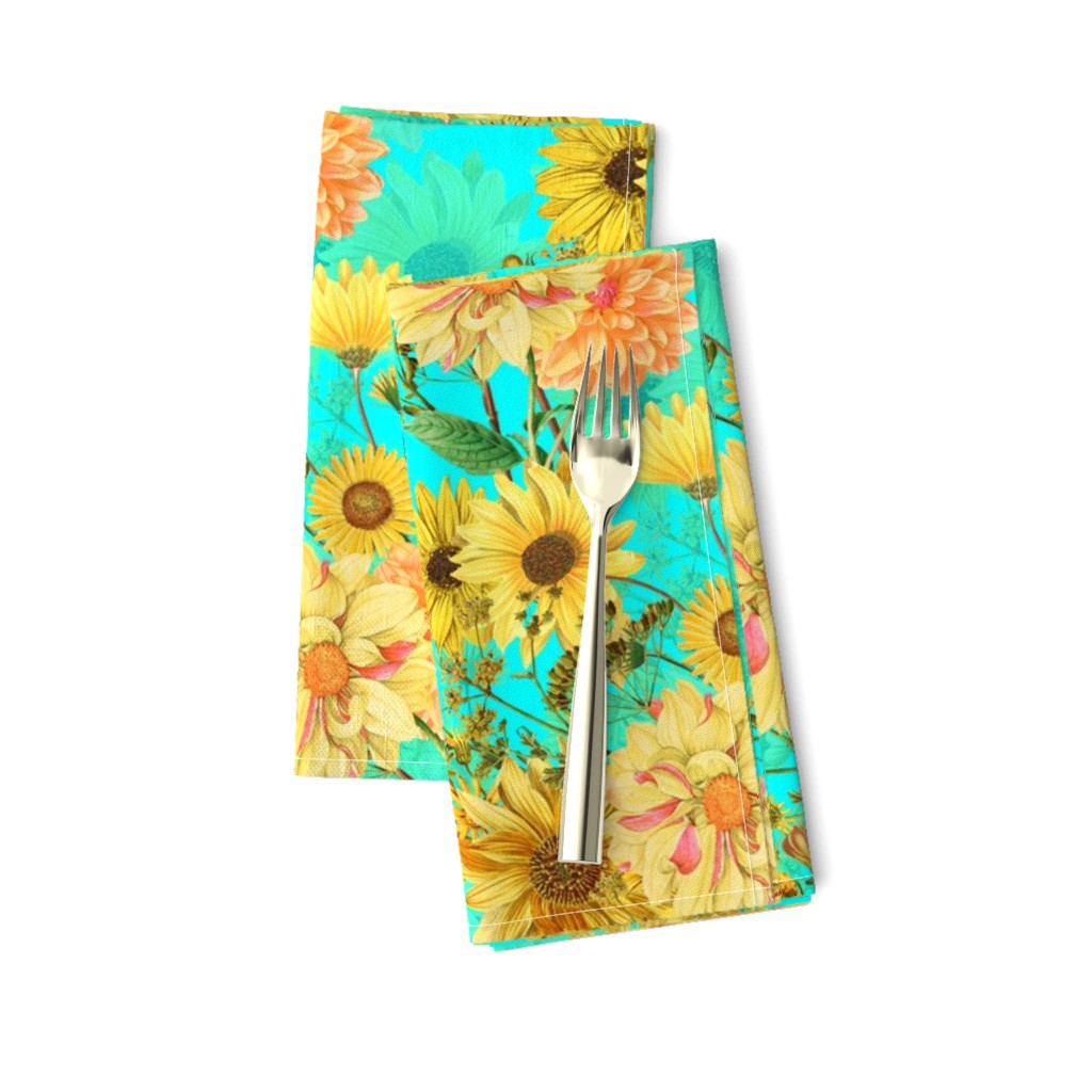 "Amarela Dinner Napkins featuring 18"" Vintage Sunflower bouquets on teal,Sunflowers fabric ,sunflower fabric by utart"