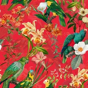 "18"" Pierre-Joseph Redouté tropicals Lush hawaiian tropical vintage parrot Jungle summer paradise in fiery red"