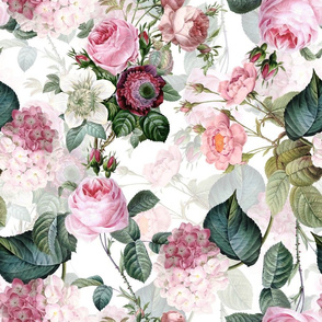"""18""""  Pierre-Joseph Redouté- Antique Moody Flowers and Roses, Lilacs and Hydrangea Bouquets on white"""