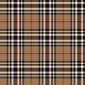 "Southdown tartan - 3"" tan/black/white"