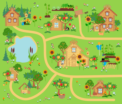 Russian village playmat