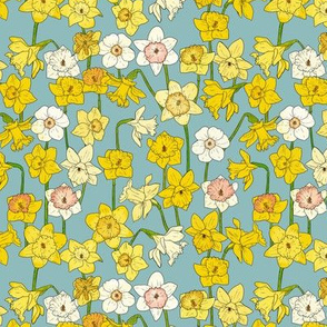 Small Daffodil Illustration on Blue