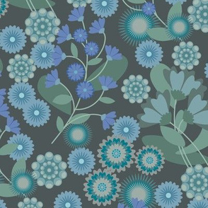 Summer Floral Dusted Blues