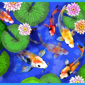 koi pond  water lilies playmat one yard panel
