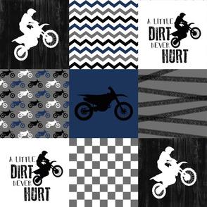 Motocross//A little dirt never hurt//Navy - Wholecloth Cheater Quilt