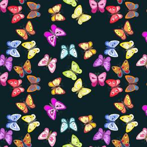 Summer Butterflies on Black