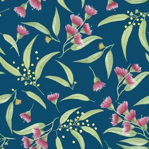 Gum Blossoms - Teal Blue