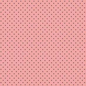 Dark gray polka dots on dusty rose pink