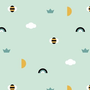 Happy spring day little moon and bee geometric icons abstract rainbow cloud design mint boys baby