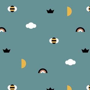 Happy spring night little moon and bee geometric icons abstract rainbow cloud design blue boys