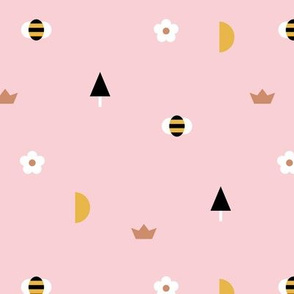 Happy spring day little moon and bee geometric icons abstract daisies and trees design pink girls gold