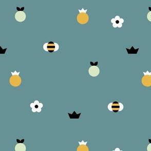 Sweet summer bees and pineapple apples orange garden daisy print blue mint