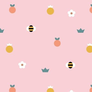 Sweet summer bees and pineapple apples orange garden daisy print pink yellow