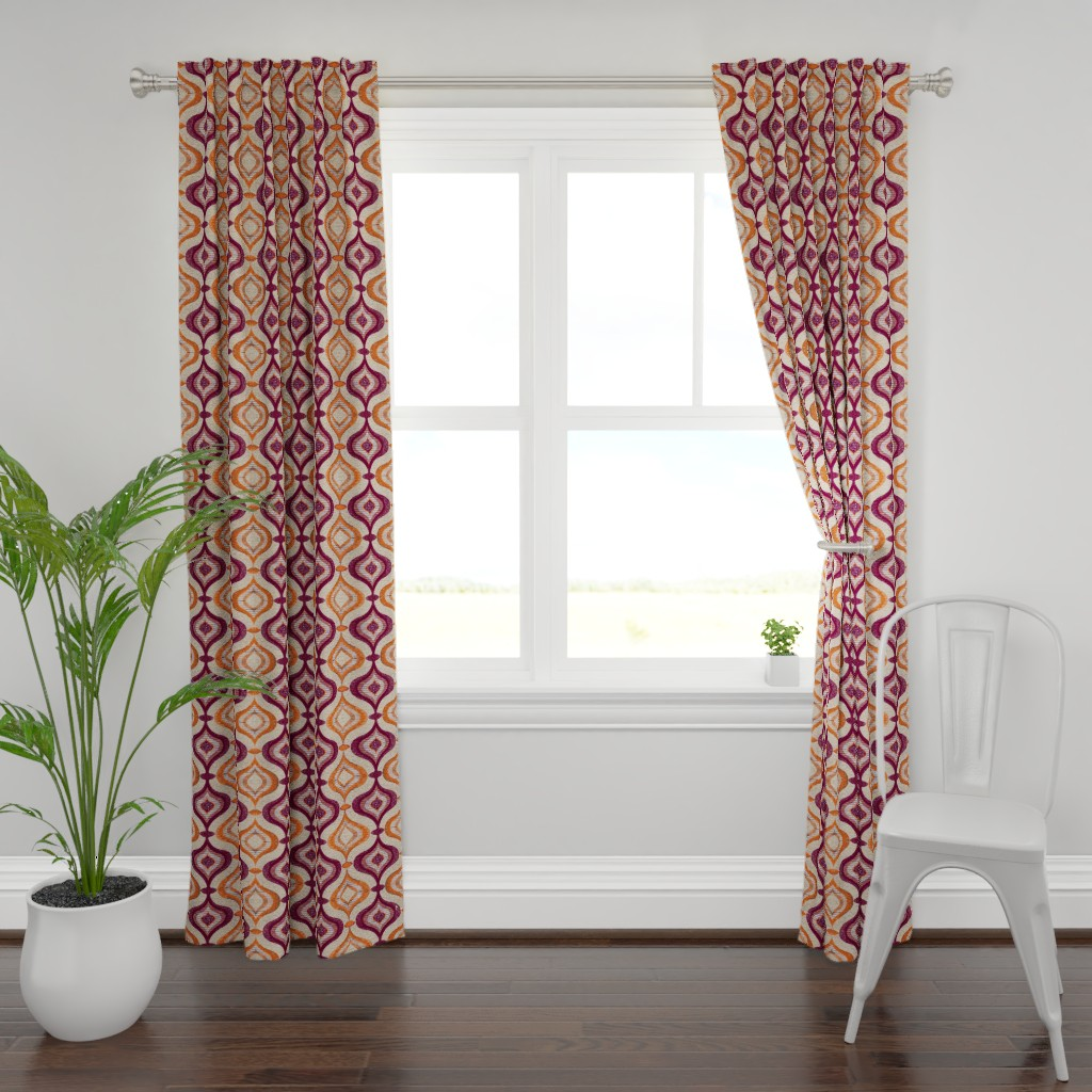 Plymouth Curtain Panel featuring blobs retro by snork
