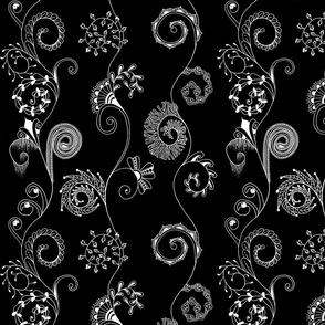 Spiralmania--white on black
