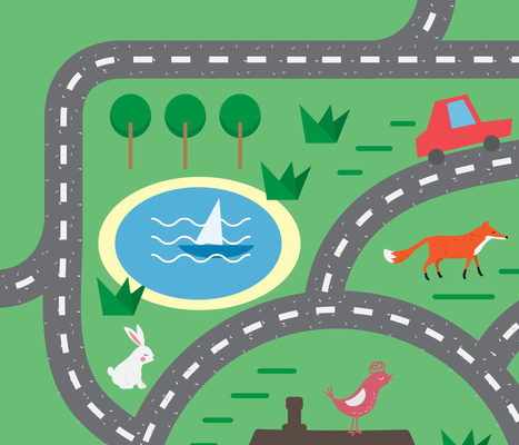 Children playmat with animals and toy cars