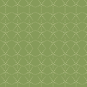 Art Deco dots Scallop Green