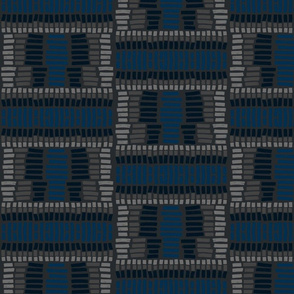 Basket Weave Blue, Navy and Gray Tribal