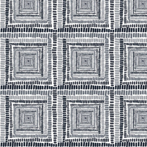 Black, Gray and white Square pattern swirl