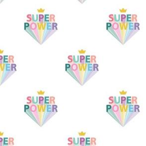 Superpower girls woman empowerment and girls super hero print typography rainbow