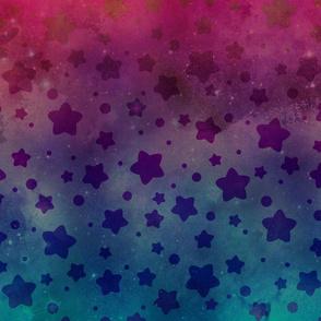 "Teal & Magenta Star Galaxy 24"""