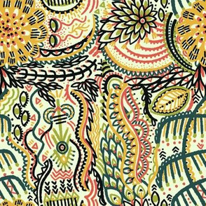 Colorful Tribal Doodle Pattern