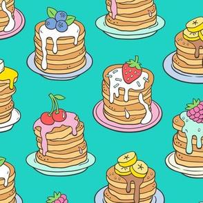 Pancakes & Fruit Food on Green