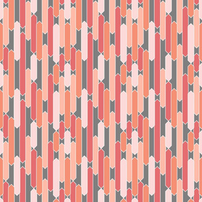 Modern tabs in coral, peach and pink on gray
