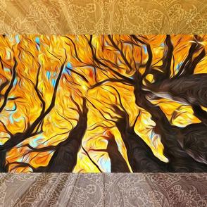 autumn maples tea towel