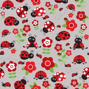 Happy Ladybugs Gray