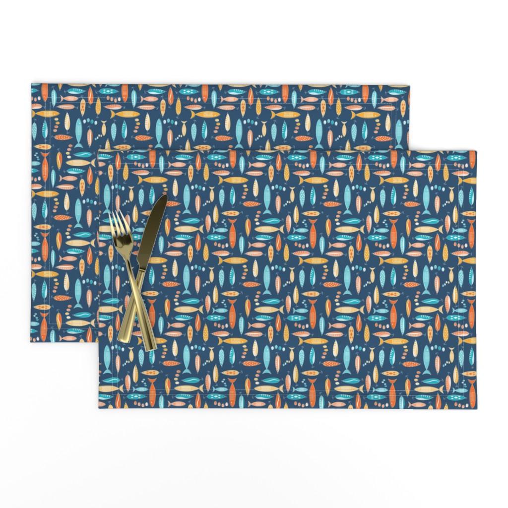 Lamona Cloth Placemats featuring fishing season by groundnut_apiary