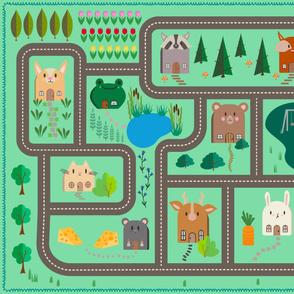 Kawaii Animal House PlayMat - Kid Friendly - Dog Cat Fox Bunny Deer Road