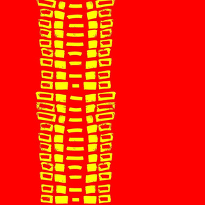 Vertical Tribal Red and Yellow Stripe - Red Line