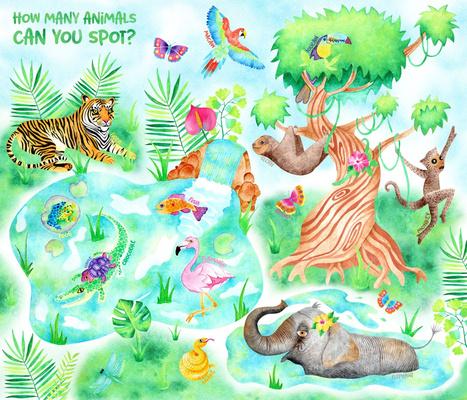 Jungle Adventure Playmat in Watercolour