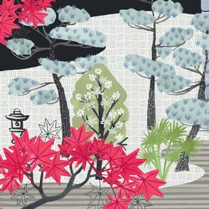 Japanese Garden Panel Print / Fat Quarter