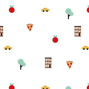 Happy spring day manhattan new york city travel geometric icons taxi big apple and pizza on white