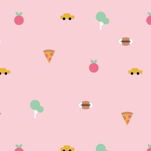 Happy summer day manhattan new york city travel geometric icons taxi big apple and pizza pink girls