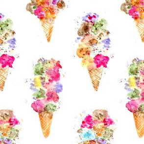 'Dolce vita' ice cream cones, bigger scale • watercolor summer sweets