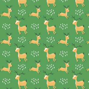 woodland deer - green