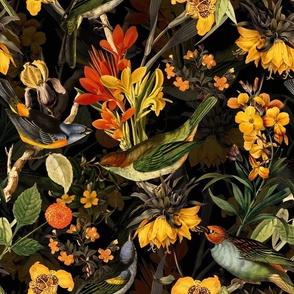 """14""""Pierre-Joseph Redouté - Antique birds and flowers black"""