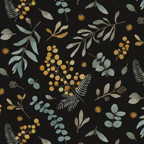 Australian native wattle eucalyptus watercolor floral black - LARGE