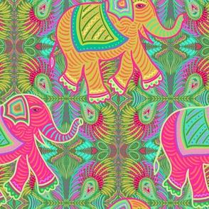 elephants on green