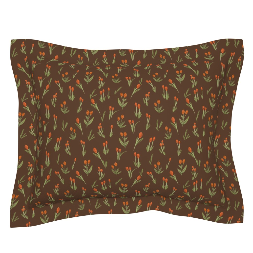 Sebright Pillow Sham featuring Brown & Orange flowers by atelieroll