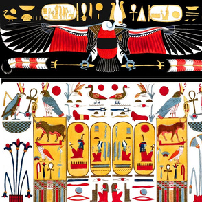ancient egypt egyptian gods goddesses  hieroglyphics wings birds vultures eagles Horus eyes ducks sun snakes cobras Ankh Nekhbet insects bees plants  bulls cows Maat Osiris flowers lilies lily papyrus plants colorful yellow red blue orange feathers tribal