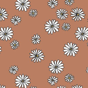 Little daisy garden boho spring daisies in trend colors rust yellow white