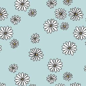 Little daisy garden boho spring daisies in trend colors yellow white blue