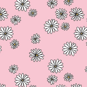 Little daisy garden boho spring daisies in trend colors yellow white pink